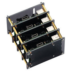 Raspberry Pi 3 B+ Case with Cooling Fan and Heatsink, 4 Layers Acrylic  Cluster Case for Raspberry Pi 3/2 Model B